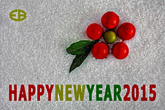 ... HAPPYNEWYEAR2015 (*melkor*) Tags: light red white snow macro green art fruits postcard salt experiment newyear minimal greetings conceptual leafs fakesnow lightbox 2015 melkor freepostcard trashbit smallfruits