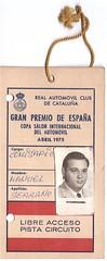 Pase de libre circulación, Comisario de Pista, Circuito de Montjuich Gran Prix de Formula 1, 1.975 P 1975 (Manolo Serrano Caso) Tags: f1 formula1 montjuich granprix