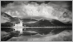 Kilchurn Castle, Loch Awe (black&white) (ShinyPhotoScotland) Tags: morning light blackandwhite panorama sunlight art nature weather composite manipulated lens landscape photography scotland argyll places equipment filter zen vista moment toned contrasts goldenhour lightanddark lochawe painteffects circularpolariser kilchurncastle tonemapped enfuse calmstill sony1855 digitalbloom digitalgradnd digitallowpass digitalgmic
