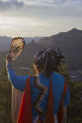 a1aIMG_8619 (ashley_sammet) Tags: sunset arizona clouds sunrise costume native indian feathers sedona nativeamerican redrock headdress moutnians