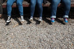 When the bench is too high (Moochin Photoman) Tags: bench sneakers trainers jeans londonderry residential dangling gravel derry picas colondonderry lderry lederry multiculturalawareness