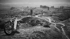 The Trail (jipan) Tags: blackandwhite mountain monochrome sand outdoor trail motorcycle bnw bromo mountbromo eastjava