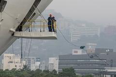 Arrival of a big cruise ship 9 (kmmanaka) Tags: japan nagasaki cruiseship fog rain harbor internationalterminal rose