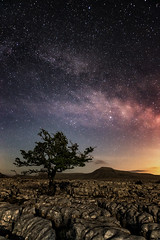 Twistleton Nights (John Ormerod) Tags: light sky cloud tree night stars landscape photography photo nikon photograph astrophotography limestone vista northyorkshire d800 milkyway ingleton ingleborough twistletonscar