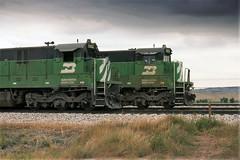 Coal Motors Under a Dark Sky (ac1756) Tags: 1988 bn wyoming ge gillette burlingtonnorthern c307 5082 5579 donkeycreek
