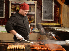 the chef (Gabriel Kay) Tags: christmas food yummy budapest sausage meat delicious chef