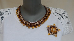 Crochet bib beaded necklace (MaxMixShop) Tags: crochet fashionjewelry beadednecklace crochetnecklace fibernecklace
