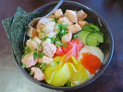 tasty salmon rice bowl (Riex) Tags: california food dinner lunch cuisine japanese restaurant dish rice salmon plate bowl meal seafood mountainview bol nourriture riz californie repas salmonroe saumon mtview japonaise explored kumino g9x explored06042016