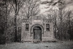 (Rodney Harvey) Tags: brick abandoned architecture rural arch geneva decay ruin indiana infrared schoolhouse