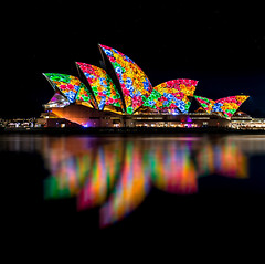Flower power (silardtoth) Tags: ocean new city travel urban house color building art water beautiful closeup wales architecture night lights bay harbor opera theater cityscape harbour background south famous central sydney sails vivid australia circularquay landmark icon quay nsw newsouthwales cbd operahouse lightshow iconic circular