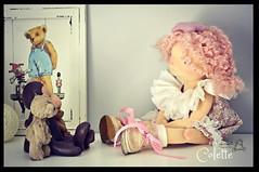 Making Friends (Les PouPZ) Tags: pink friends monkey doll handmade teddybear romantic artdoll shabby clothdoll naturalfiberdoll