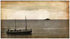 Adriatic Sea (Nikos Niotis) Tags: old sea sky blackandwhite bw water paper landscape island boat rocks europe horizon croatia balkans peninsula isle rovinj adriatic istria