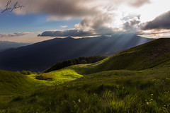 Light traces (Luca Famlonga) Tags: blue light sunset italy sun mountain color green ray wind cloudy beam tuscany