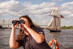 where did he go ... (JimfromCanada) Tags: river boat sailing ship watch binoculars crew sail behind sailor schooner sneaky sneaking prideofbaltimore