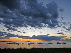 Seabrook Harbor Sunset (ParkerRiverKid) Tags: sunset harbor nightfall seabrook lobsterboats nuclearpowerplant scavenger6 ansh71