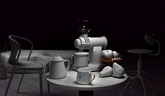 Coffee and a round table (nackorris) Tags: apple coffee cherry chair couch kettle pear grinder