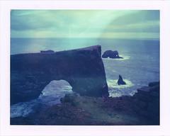 Dyrhlaey (sycamoretrees) Tags: ocean film birds analog polaroid iceland cliffs expired sland landcamera packfilm model100 instantfilm dyrhlaey automatic100 type100 iduv expired2008 marianrainerharbach iduv200802