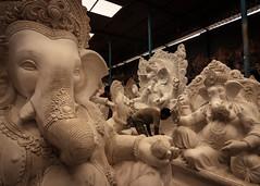 Making Of Ganesha - Bengaluru, India (Kartik Kumar S) Tags: elephant india bangalore karnataka ganesha chaturthi festival canon 600d statue workers monochrome