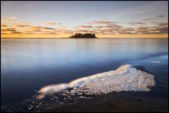Sea foam (Jonas Thomn) Tags: seafoam havsskum skum foam sea hav havet island  sky himmel clouds moln vatten water sand beach strand longexposure lngexponering nd400