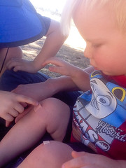 20160523_Shannon_phone_0049.jpg (Ryan and Shannon Gutenkunst) Tags: bandaids carsongutenkunst codygutenkunst lakesidepark thomasthetrainshirt knees wipeout tucson az usa