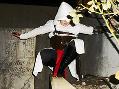 Altair (UndoneStar) Tags: boy shadow white black game male art church up night pose dark photography idea book photo costume video outfit model uniform comic child dress boots cosplay character cartoon creative picture son pic artsy gamer ledge theme balance blake greener assassin creed altair assassins happypants