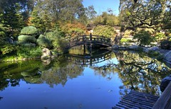 Spirited now (PeterThoeny) Tags: california bridge blue autumn reflection japan japanesegarden raw saratoga peaceful hdr woodbridge hakonegardens archbridge spirited 3xp photomatix wetreflection fav200 nex6 selp1650