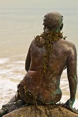 The Folkestone Mermaid (1 of 3) (Keith in Exeter) Tags: sea sculpture seaweed art rock bronze naked nude back body verdigris coastal granite mermaid lifesize englishchannel folkestone wrack adorned webbedfeet lifecast fucusvesiculosus infinitexposure