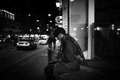 wait in the night (gato-gato-gato) Tags: street leica bw white black blanco monochrome person schweiz switzerland flickr noir suisse sommer strasse zurich negro streetphotography pedestrian rangefinder august human