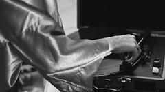 lightning's girl (SofaHiggins) Tags: music white black girl monochrome player record kimono sleeve