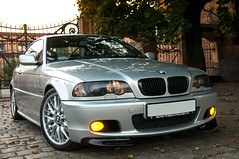 BMW 325Ci (pawelkarski) Tags: auto autumn car yellow fog silver lights golden nikon shine automotive hour bmw motor nikkor 18 rims 325 85 coupe hella e46 d300s noclsinfo rejectedfromclspool
