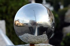 Optical Weightloss (gripspix (Sorry: OFF NOW)) Tags: autumn reflection fall perception steel herbst spiegelung polished stahl selfie gardenball glnzend wahrnehmung gartenkugel selbstwahrnehmung 20141117