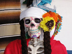 Day of the Dead Female Skeleton (shaire productions) Tags: flowers heritage floral festival festive dayofthedead skulls skeleton oakland photo image decoration picture culture photograph bones diadelosmuertos tradition ethnic marigold skeletal cultural imagery mexical
