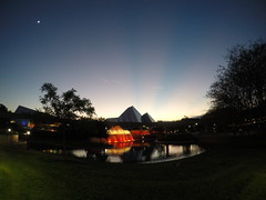 Epcot Sunset (Rhys A.) Tags: world trees earth disney palm fisheye journey imagination spaceship walt gopro
