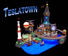 Teslatown (2 Much Caffeine) Tags: tesla steampunk lightingeffects moc brick2014 showbuild