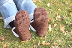 Crocheted slippers (KnitSpirit) Tags: brown crochet slippers