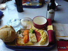 Lunch on a Thalys Train, 2005. (ManOfYorkshire) Tags: 2005 water coffee train bread table lunch wine eating napkin railway butter meal carrot tray portion couscous luncheon salami terrine brocolli thalys crudites complimetary