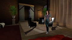 Like a home away from home (alexandriabrangwin) Tags: world from old family woman green tower home alex leather modern computer print carpet cozy 3d chair graphics shiny warm soft foil metallic teal lounge style away sneakers sofa secondlife virtual land curtains rug casual ferns mermaid brickwork leggings cgi blackmilk nylonlycra alexandriabrangwin