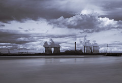 Storm brewing (Elysian-Photography) Tags: uk bridge trees light england seascape reflection water monochrome leaves architecture night speed silver river manchester lights canal blackwhite sand long exposure ship arch cheshire northwest time jubilee towers gap steam gas trail naturereserve shutter infrastructure coal canonef2470mmf28lusm powerstation mott mersey cooling waterscape runcorn widnes biomass halton fiddlersferry wiggisland hayandanderson cuerdley unusualviewsperspective