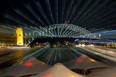Exploding Harbour Bridge (David Marriott - Sydney) Tags: night sydney australia nsw sydneyharbourbridge zoomblur
