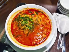 Gukbap (Korean Rice Soup)  (DigiPub) Tags: red food japan horizontal paper table photography soup restaurant stainlesssteel rice spice bowl pointofview korean meal odaiba asianfood koreanfood onsale foodanddrink gettyimages crockery tokyojapan venusfort healthyeating 2015  preparingfood personalperspective disinfection readytoeat directlyabove peppervegetable gukbap  ricefoodstaple  g14841361 p20150803 shootbrief11 572456565 scallionbrush