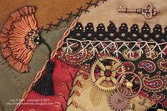 2015.01.09SteampunkDYBforLonna07 (ivoryblushroses) Tags: fan embroidery cq embellishment stitching gears steampunk crazyquilting dyb roundrobin