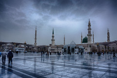 South side of The Mosque (Mubashir Younus) Tags: camera city morning winter cold green love beautiful weather clouds sunrise blessings landscape day cityscape sony north freezing like mosque holy dome land medina lovely masjid blessed islamic madinah gumbad mirrorless a6000