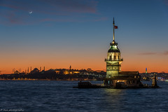 New Moon over the Old City, Istanbul (tyil.pics) Tags: blue sunset orange cityscape istanbul bluehour newmoon bluemosque topkapipalace bosphorus maidenstower nikond810