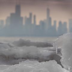 Fire and Ice (Philocycler) Tags: ice sunrise lakemichigan chicagoskyline chicagoist fireandice chicagoreader earlymorninglight montrosepark canon5dmarkiii bokehskyline slidersunday chicagoskylinebokeh
