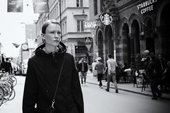 Determined! (micke_wall) Tags: street woman white black sweden stockholm streetphotography fujifilm determined xt10