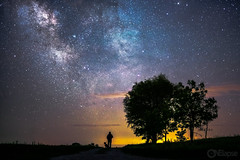 A walk in the Dark (onelapse) Tags: trees people dog silhouette night stars star puppies midwest nebraska nightscape darkness galaxy astrophotography nightsky nightscapes aussies