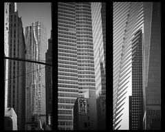 Toucher le ciel XI | Touch the sky XI (bbferrand) Tags: blackandwhite usa newyork architecture buildings noiretblanc manhattan montage triptyque oculus immeubles madameb