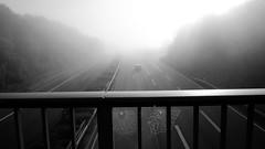nebulous (rainbowcave) Tags: morning fog nebel motorway web spiderweb autobahn dew tau railing netz spinnennetz gelnder a63