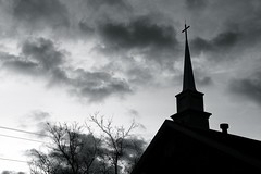 Steeple Silhouette (imageClear) Tags: sky blackandwhite bw tree tower church nature beauty silhouette clouds aperture nikon flickr steeple photostream d600 imageclear 2470mmvr