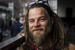 Stranger 41/100 'Ben' (Leanne Boulton) Tags: life street city uk light shadow portrait people urban man color colour detail male travelling texture beautiful beauty smile face smiling fashion dreadlocks canon pose beard 50mm scotland living eyes pretty natural humanity bokeh outdoor expression glasgow character culture streetphotography handsome posed streetportrait style streetlife scene stranger depthoffield human shade portraiture 7d friendly society tone facial stylish bokehlicious 100strangers